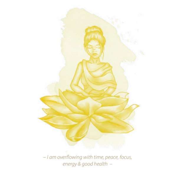 yellow graphic of woman meditating and Lilly Graphic